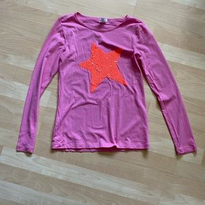 J Crew Crewcuts Girls Pink Sequin Star Shirt 14